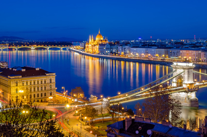 Budapest, Hungarian Parliament and Danube at blue hour