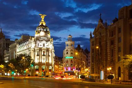 Crossing  Calle de Alcala and Gran Via in night. Madrid